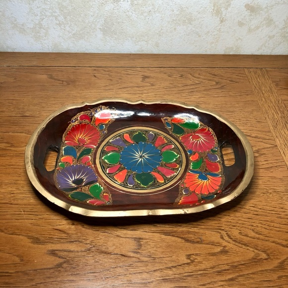 Hand painted Mexican folk art tray